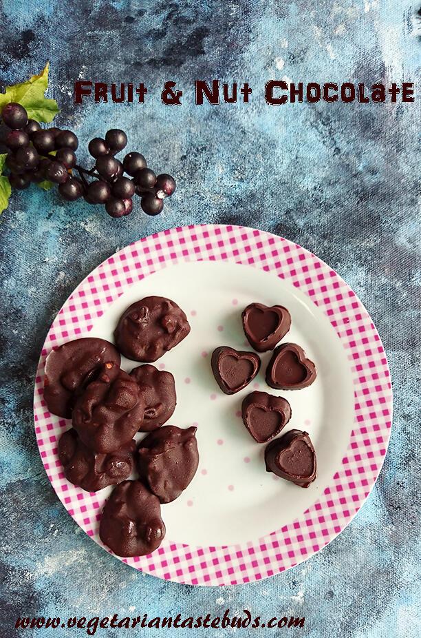 Fruit & Nut Chocolate - 2 Ways | Chocolate Rocks Recipe | Easy Chocolate Recipe | Vegetarian Tastebuds - Indian Vegetarian Recipes, Veg Recipes