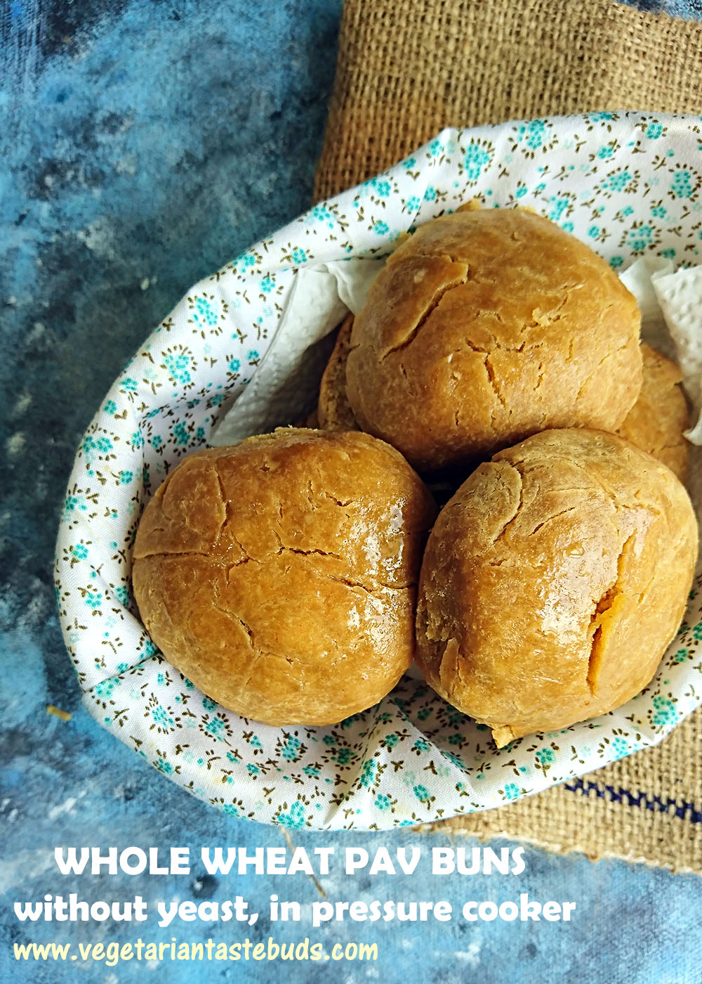 Whole Wheat Ladi Pav Buns Without Yeast In Pressure Cooker